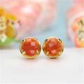 14k Yellow Gold Agate Stud Earrings