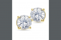 14K Yellow Gold Solitaire Diamond Earrings