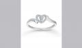 14k White Gold Diamond Heart Fashion Ring