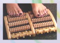 Reflexology Footbed-5 Rolling rows of bumps for both feet Wood
