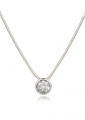 Bezel White Gold Snake Chain Pendant Necklace