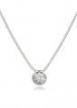 Bezel White Gold Snake Chain Pendant Necklace