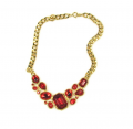 Trifari Ruby Red Cluster Glass Stone Necklace