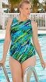 Aquabelle Diagonal Paint High Neck Swimsuit