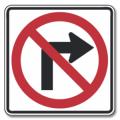 NO RIGHT TURN Regulatory Sign
