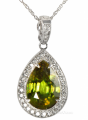 Chartruse Colored Pear Shape Sphene And Diamond Necklace