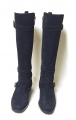 New MANOLO BLAHNIK Navy Suede Tall Knee High Boots 6.5