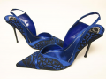 RENE CAOVILLA Royal Blue Silk & Black Lace Dress Heel Pumps Shoes 7