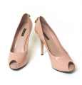 New LOUIS VUITTON Rose-Pink Patent Leather Peep Toe Platform Heel Shoes 8.5