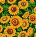 Mrs Greenthumbs - Sunflowers (Dark Green) Fabric