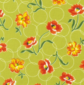 Momma's Apron Strings (Circles & Flowers) - Green Fabric