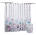 Floral Shower Curtain, Hooks, and Hamper Set