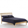 King Size Platform Bed with Slatted Headboard in Natural Finish