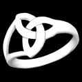 BQ554 Sterling Silver Modern Trinity Knot Ring