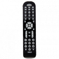 6 device black universal remote with contemporary design