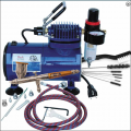 Paasche double action TG-3F, D500SR compressor and AC-7 cleaning kit.