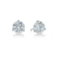 "Three-Prong Round Diamond ""Martini"" Stud Earrings"