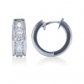 Prong-Set Graduated Round Diamond Hoop Earrings