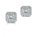 Square Radiant Cut Diamond Stud Earrings with Pave-Set Diamond Border