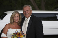 Island Romance Wedding with White Limousine