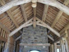 Hand peeled logs for beams, columns & log