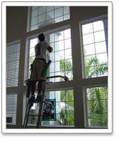 Windows cleaning  by hand