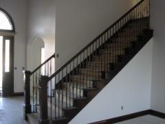 Wood stair rail with stair end caps