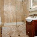 Bath screen hinged off panel
